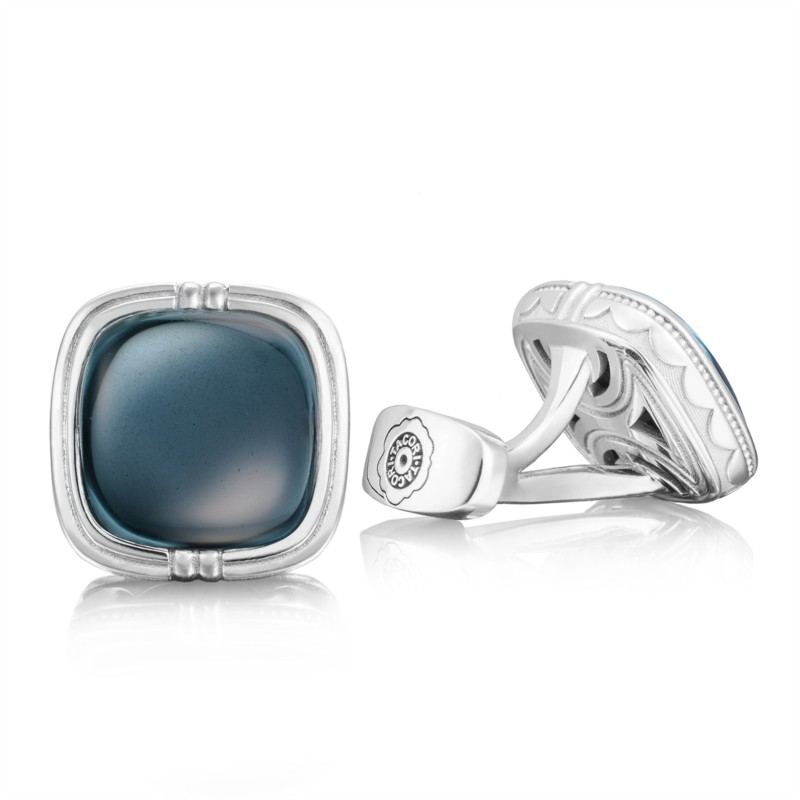 Tacori Retro Classic Collection | Sky Blue Topaz Over Hematite Cuff Links | Style No. 001-761-00914 MCL10037