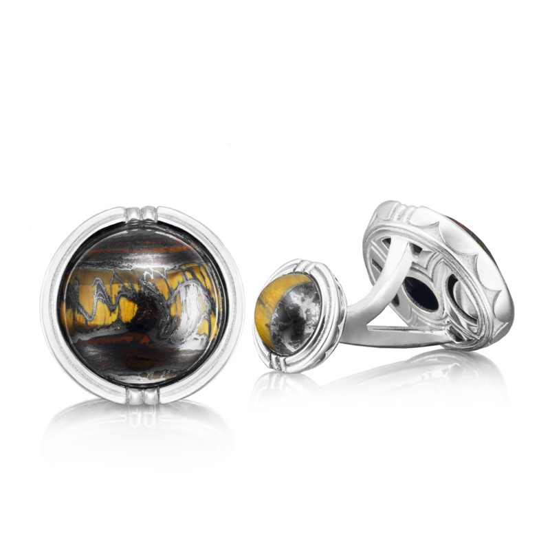 Tacori Retro Classic Collection | Sterling Silver & Tiger Iron Cuff Links | Style No. 001-761-00923 MCL10539