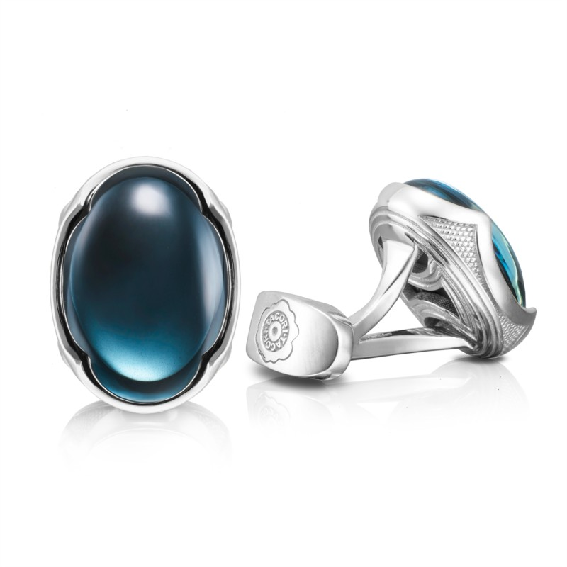 Tacori Retro Classic Collection | Sky Blue Topaz over Hematite Sterling Silver Cuff Links | Style No. 001-761-00931 MCL10337