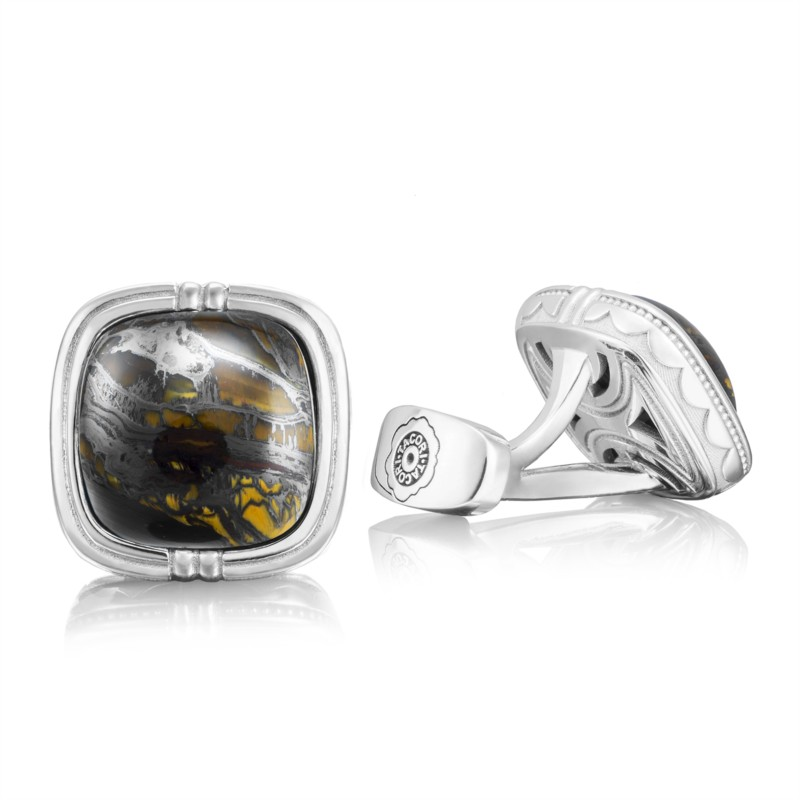Tacori Retro Classic Collection | Tiger Iron & Sterling Silver Cuff Links | Style No. 001-761-00933 MCL10039