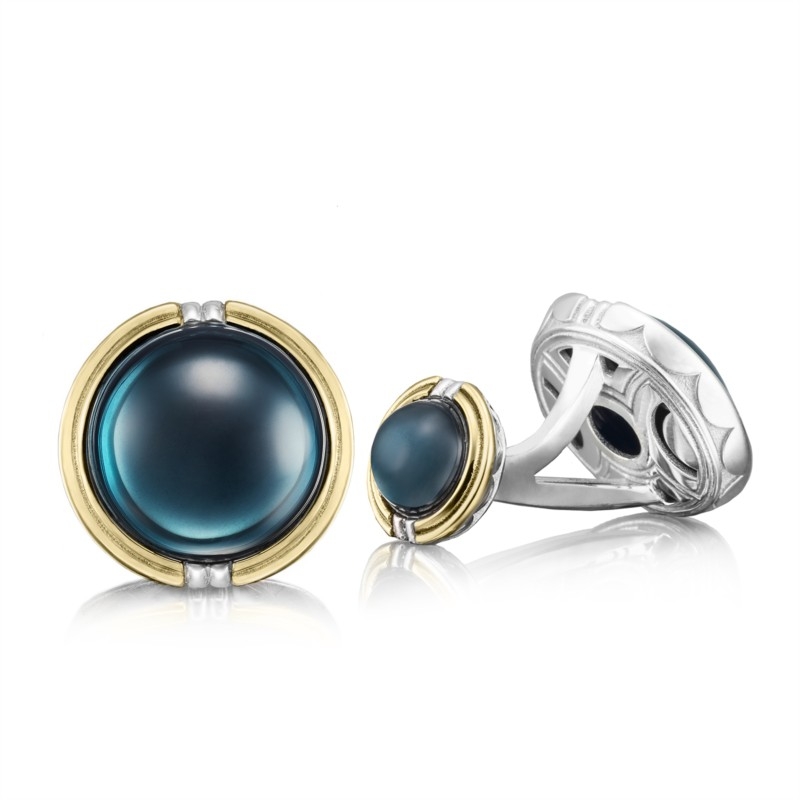 Tacori Retro Classic Collection | Yellow Gold & Sterling Silver Cuff Links with Topaz | Style No. 001-761-00942 MCL105Y37