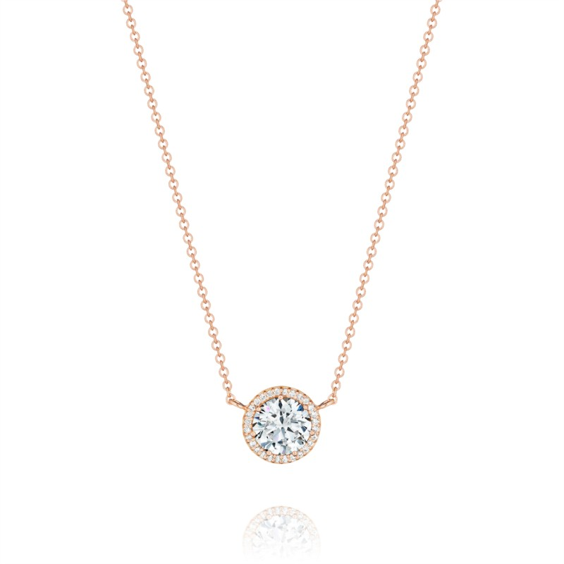 Tacori Dantela Collection | Rose Gold Pavéé Diamond Halo Pendant | Style No. 001-764-00002
