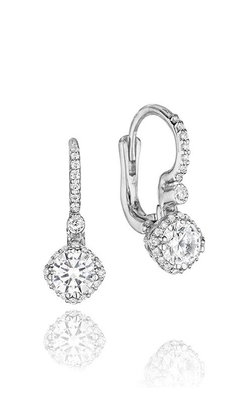 Tacori Dantela Collection | 18K White Gold Diamond Halo Earrings | Style No. 001-764-00003
