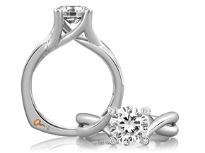 A. JAFFE Engagement Ring | 18K White Gold Twisted Four Prong Ring | Style No. 001-785-00621 MES463/153