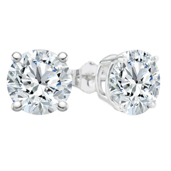 Diamond Stud Earrings | 14K White Gold Certified Round Brilliant Diamond Earrings | Style No. 001-161-03763