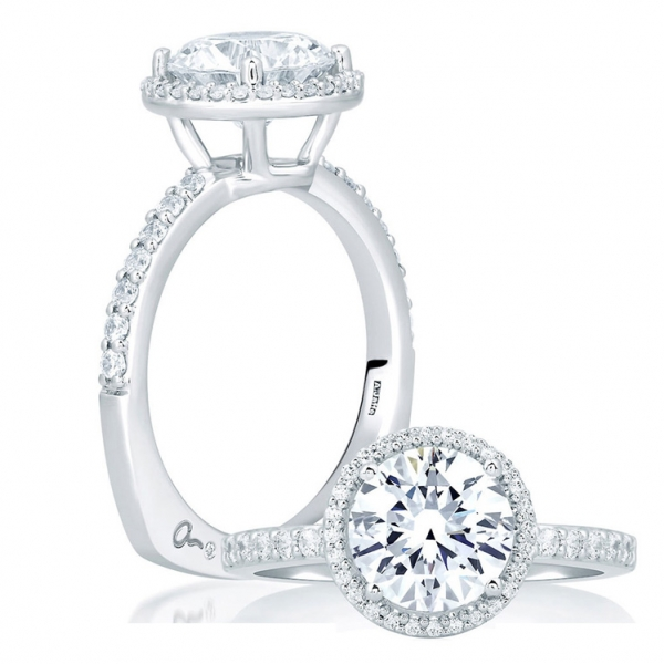 A. Jaffe Engagement Ring | 18K White Gold Halo Diamond Ring | Style No. 001-785-00628 MES638/155