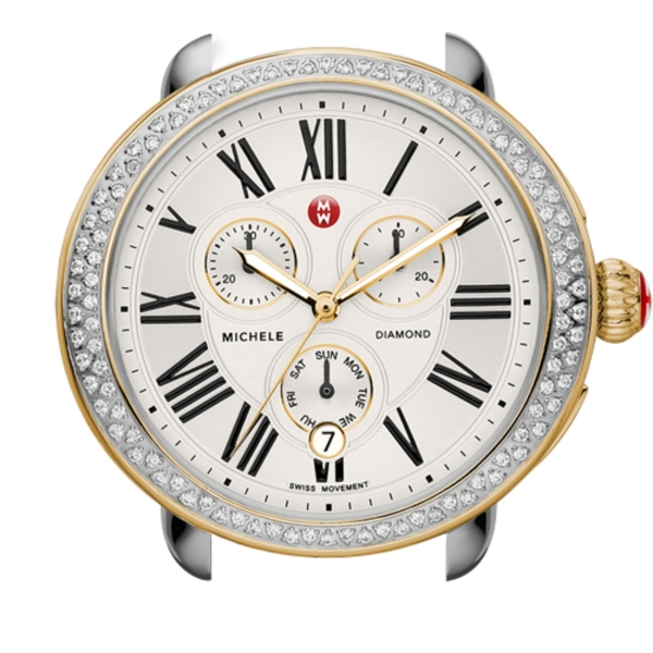 Michele Serein Collection | Yellow Gold Plated & Stainless Steel Watch with Diamond Accents | Style No. 001-608-02021