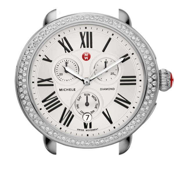 Michele Serein Collection | Chrome Watch with Chronograph & Diamond Accents | Style no. 001-608-02591