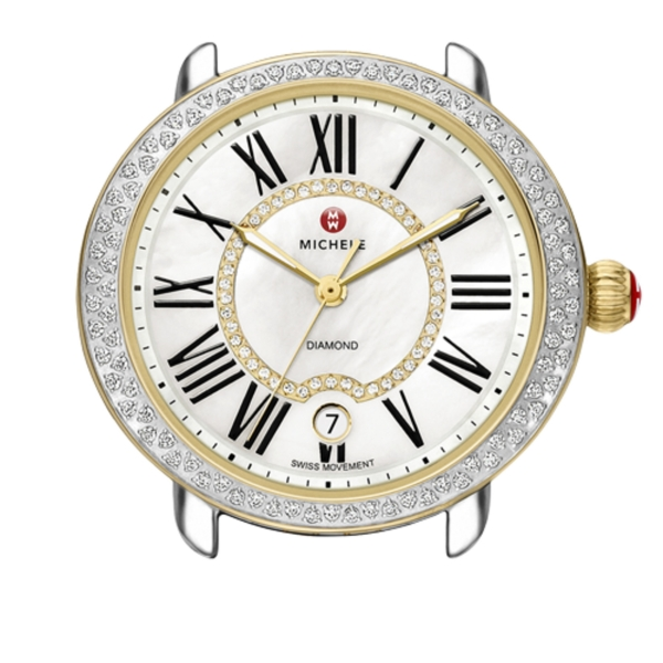 Michele Serein 16 Collection | Gold Plated & Chrome Watch with Diamond | Style No. 001-608-03022