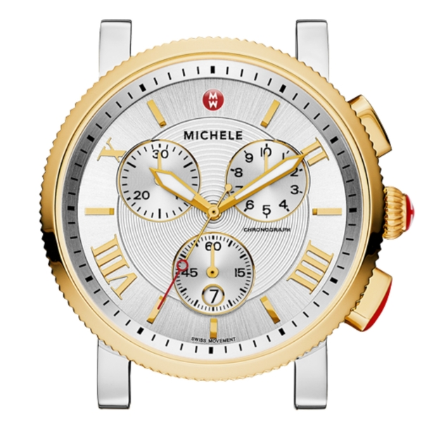 Michele Sport Sail Collection | Gold Plated & Chrome Watch with Enamel Dial | Style No. 001-608-03034