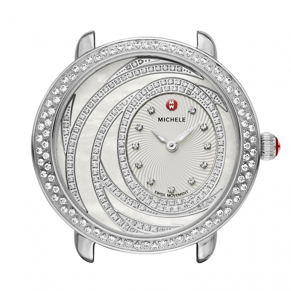 Michele Serein 16 Extreme Diamond Collection | Chrome Watch with Textured Enamel Dial | Style No. 001-608-03184