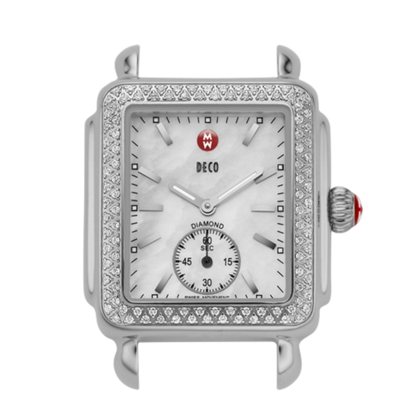 Michele Deco 16 Collection | Chrome Watch with Mother of Pearl & Diamonds | Style No. 001-608-02730