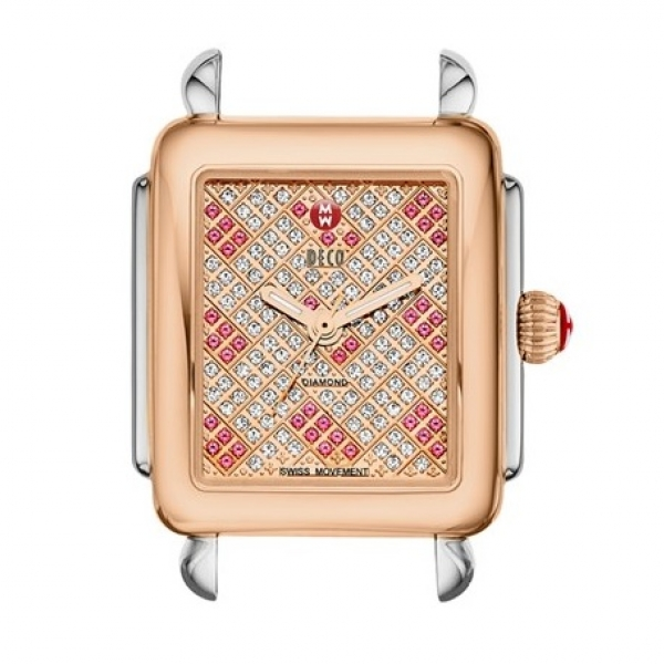 Michele Deco 16 Collection | Rose Gold Watch with Pink Topaz Dial | Style No. 001-608-03404