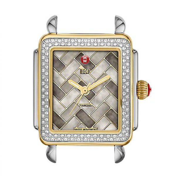 Michele Deco 16 Collection | Chrome Watch with Cocoa Mosaic Diamond Dial | Style No 001-608-03453