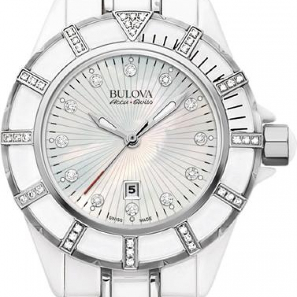 Bulova Mirador Collection | White Ceramic AccuSwiss Watch | Style No. 001-604-00162