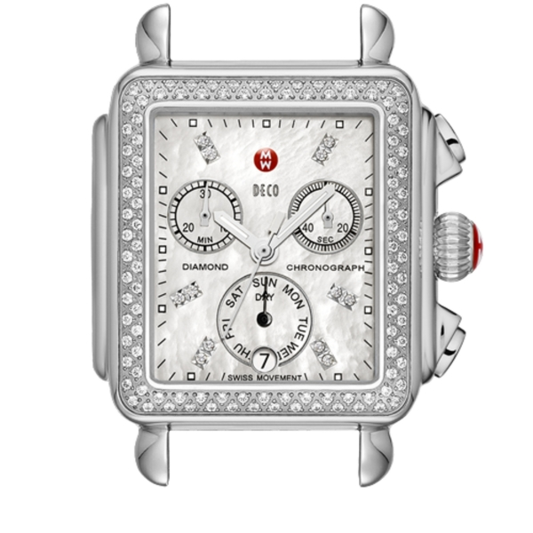 Michele Deco Day Collection | Chrome Watch with Diamond Bezel | Style No. 001-608-03026