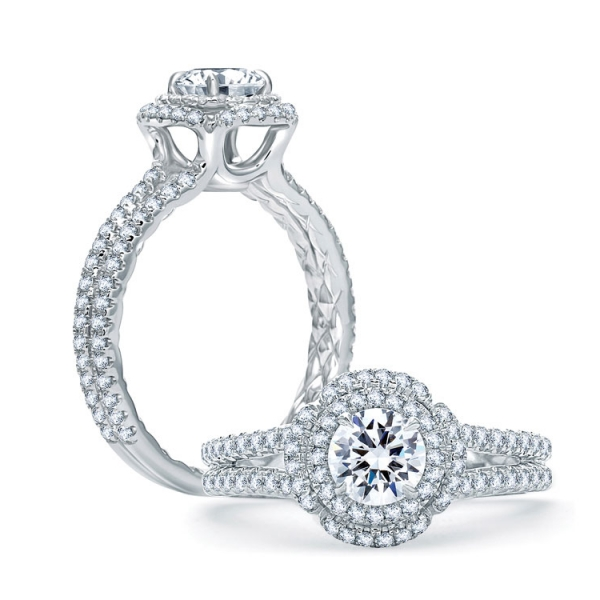 A. Jaffe Halo Diamond Ring | 18K White Gold Double Halo Diamond Ring with Split Shank | Style No. 001-785-00601 ME2020Q/98