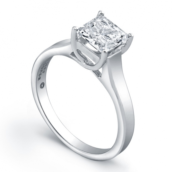 Jeff Cooper | Platinum Setting for Princess Diamond Engagement Ring | Style No. 001-730-01207 R2970/CZ