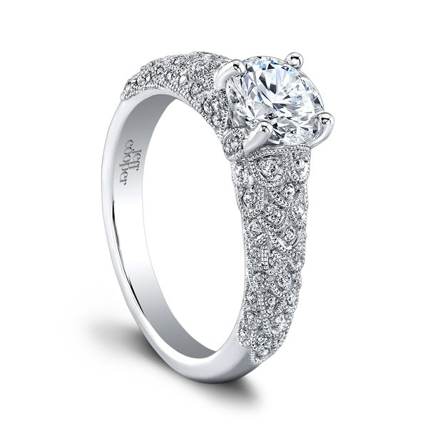 Jeff Cooper | 14K White Gold Diamond Milgrain Ring | Style No. 001-730-01244 RP1630/R6.5C14