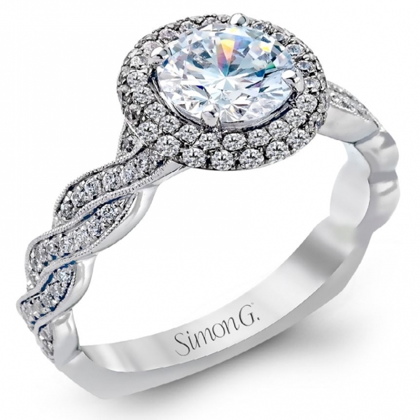 Simon G Delicate Collection | 18K White Gold Pavé Diamond Halo Ring Setting | Style No. 001-718-00352