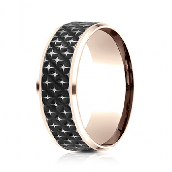 Ammara Stone | 8mm 14K Rose Gold Beveled Edge Ring with Carbon Fiber Center | Style No. 001-709-01779 CF468745 - Ammara Stone