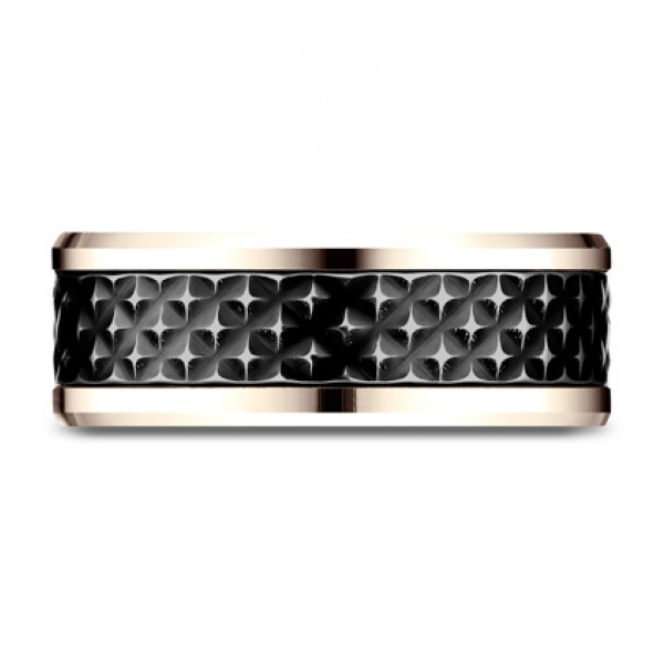 Ammara Stone | 8mm 14K Rose Gold Beveled Edge Ring with Carbon Fiber Center | Style No. 001-709-01779 Ammara Stone 8mm Two To