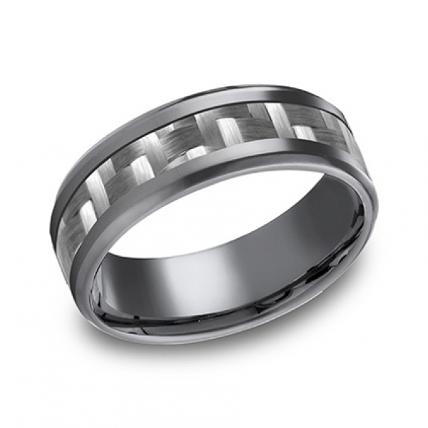 Benchmark | Tantalum & Carbon Fiber 8mm Comfort Fit Wedding Ring | Style No. 001-709-02128 CF68478CFTA10