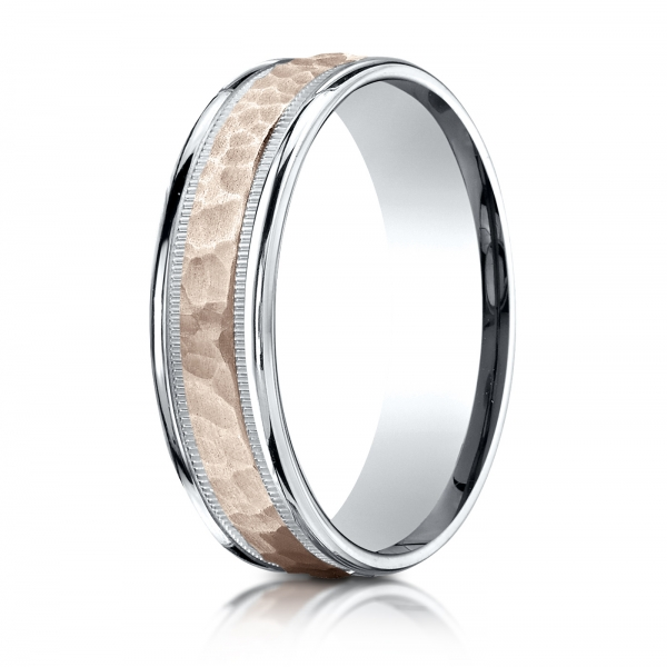 Benchmark | 14K White and Rose Gold 6mm Comfort Fit Hammered Ring | Style No. 001-709-01626 CFB21630814K10