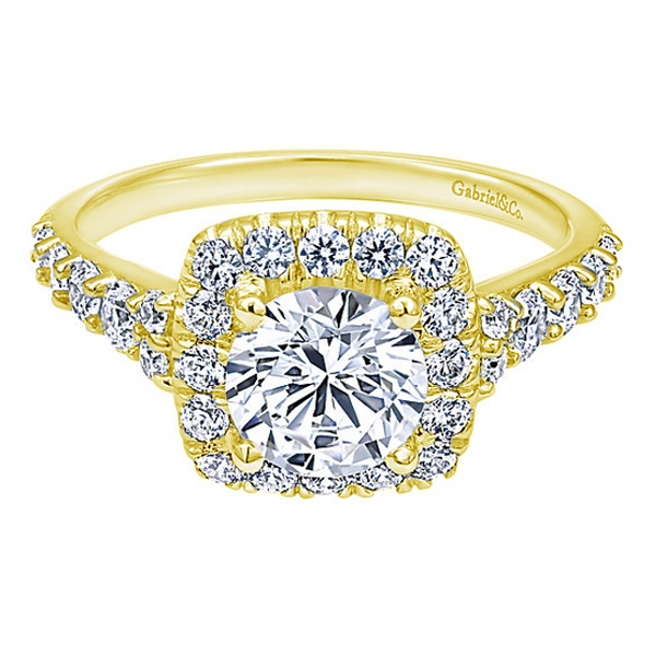 Gabriel & Co | 14K Yellow Gold Cushion Halo Round Diamond Engagement Ring | Style No. 001-652-00645 ER10287Y44JJ