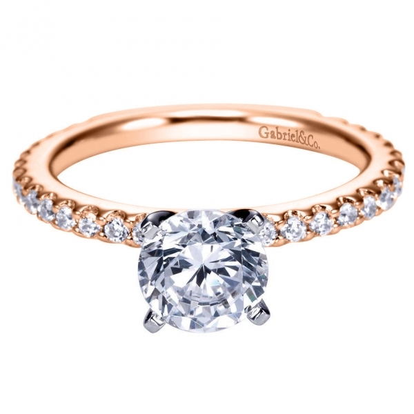 Gabriel & Co | 14K Rose Gold Petite Pavé Diamond engagement ring | Style No. 001-652-00164 ER4124T44JJ