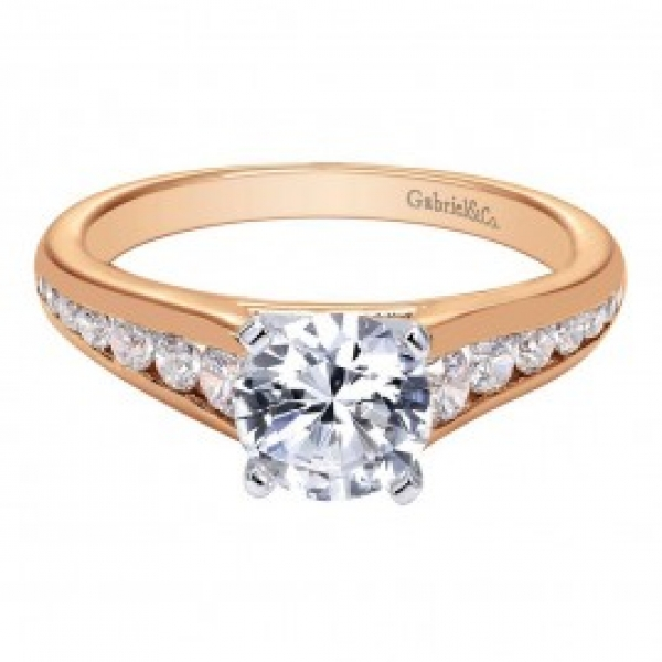 Gabriel & Co. | 14K Rose Gold Graduated Channel Set Diamond ring | Style No. 001-652-00033 ER6664T44JJ