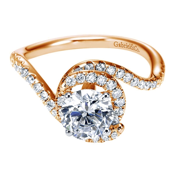 Gabriel & Co | 14K Rose Gold Swirling Ring setting | Style No. 001-652-00252 ER7221T44JJ