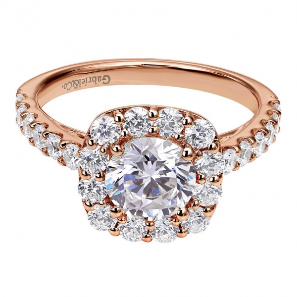 Gabriel & Co | 14K Rose Gold Cushion Diamond Halo Engagement Ring | Style No. 001-652-00118 ER7480W44JJ