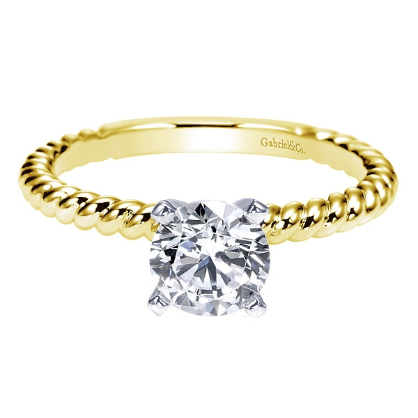 Gabriel & Co | 14K Yellow Gold Twisted Rope Solitaire engagement ring | Style No. 001-652-00255 ER9017M4JJ