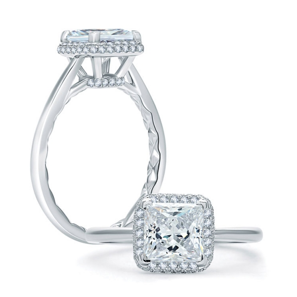 A. Jaffe Wedding Rings | 18K White Gold Pavé Halo Diamond Ring for Princess Center | Style No. 001-785-00563 M