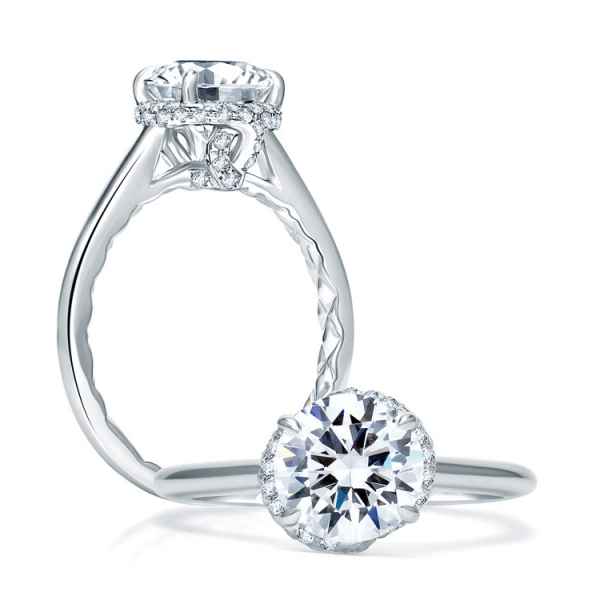 A. JAFFE Engagement Ring | 18K White Gold Four Prong Ring with MicroPavéDiamond Accents | Style No. 001-785-00 - A. JA