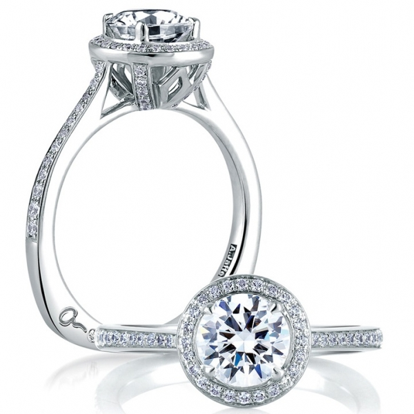 A. Jaffe Halo Diamond Ring Engagement Ring | 18K White Gold Pavé Halo Diamond Ring | Style No. 001-785-00474 M - A. JA