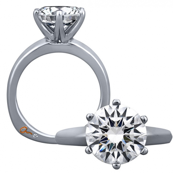 A. Jaffe Engagement Ring | 18K White Gold Six Prong Solitaire Ring | Style No. 001-785-00487 MES391/150