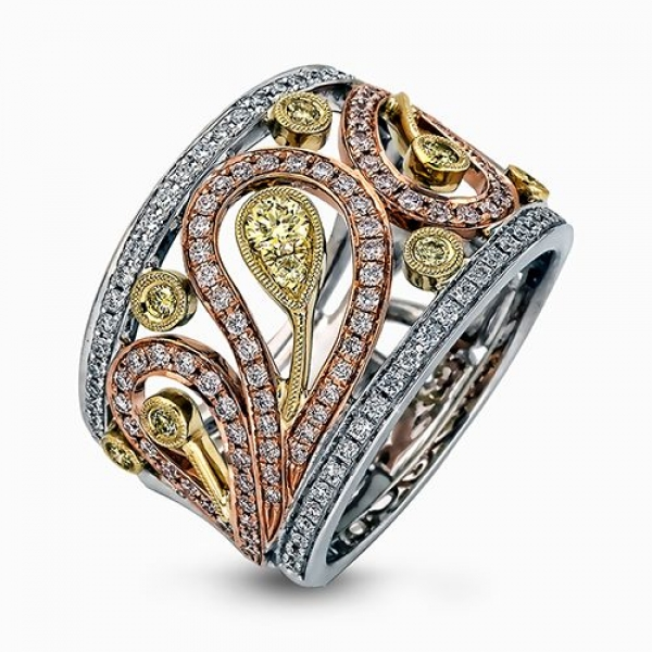 Simon G Paisley Collection | White, Yellow and Rose Gold Pavé Diamond Ring | Style No. 001-718-00233
