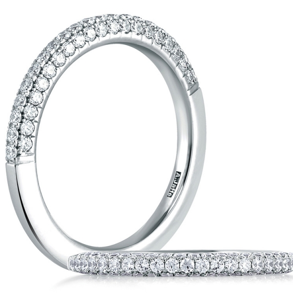 A. JAFFE Diamond Ring | Platinum Three-sided Pavéé Diamond Ring | Style No. 001-785-00677