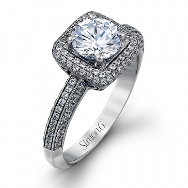 Simon G | 18K White Gold Tapered Pavé Diamond Ring Setting | Style No. 001-718-00353