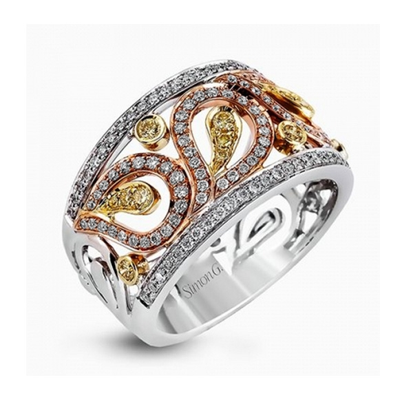 Simon G Paisley Collection | White, Rose and Yellow Gold Diamond Ring with Yellow Diamonds | Style No. 001-718-00526