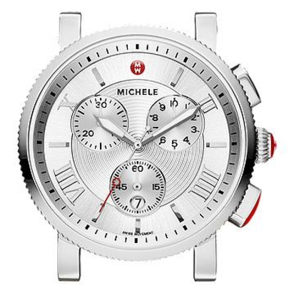 Michele Sport Sail Collection | Chrome Watch with White Textured Dial | Style No. 001-608-03053