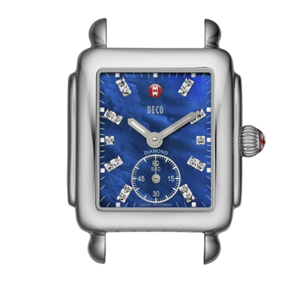 Michele Deco 16 Collection | Chrome Watch with Blue Mother of Pearl Face | Style No. 001-608-03047