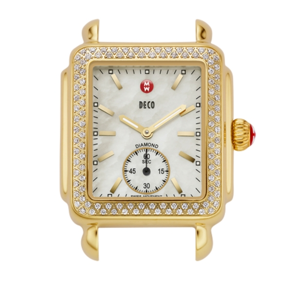 Michele Deco 16 Collection | Gold Plated Watch with Diamond Accents | Style No. 001-608-02320