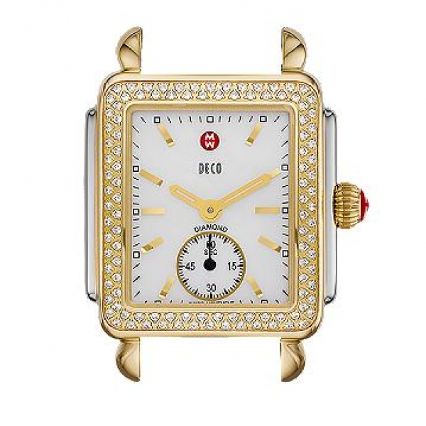 Michele Deco 16 Collection | Gold Plated Watch with Mother of Pearl Face | Style No. 001-608-02882