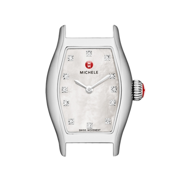 Michele Urban Coquette Collection | Chrome Watch with Mother of Pearl & Diamond | Style No. 001-608-03072