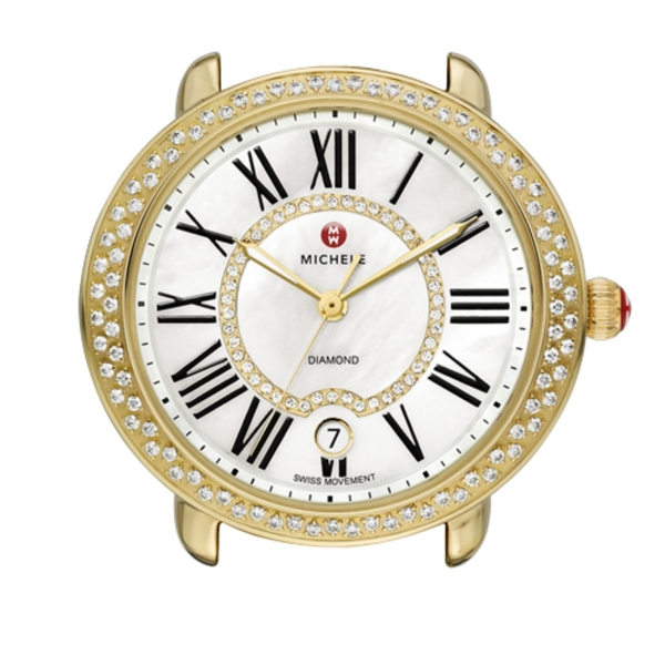 Michele Serein 16 Collection | Gold Plated Watch with Diamond Accents | Style No 001-608-02881