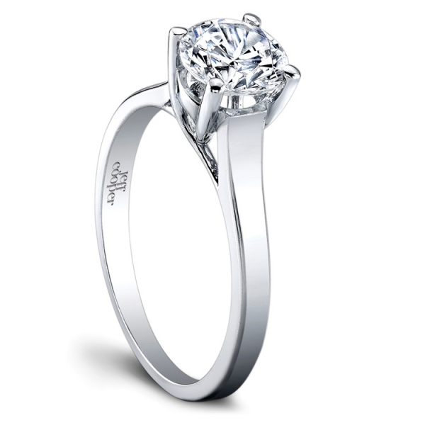 Jeff Cooper | Platinum Solitaire Setting for Round Center Engagement Ring | Style No. 001-730-01342 R2972/CZ