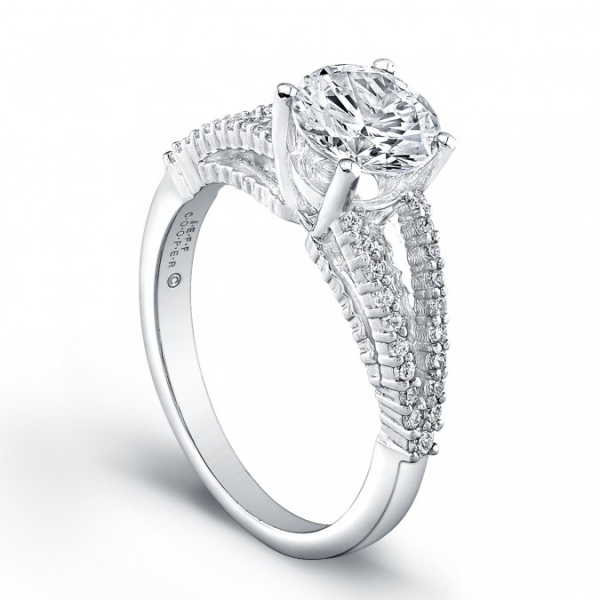 Jeff Cooper | 18K White Gold Split Shank Engagement Ring | Style No. 001-730-00846 R3281/W